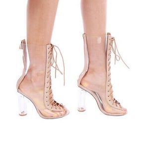 Cape Robbin Bailey-1 Clear Lace Up Heeled Boots